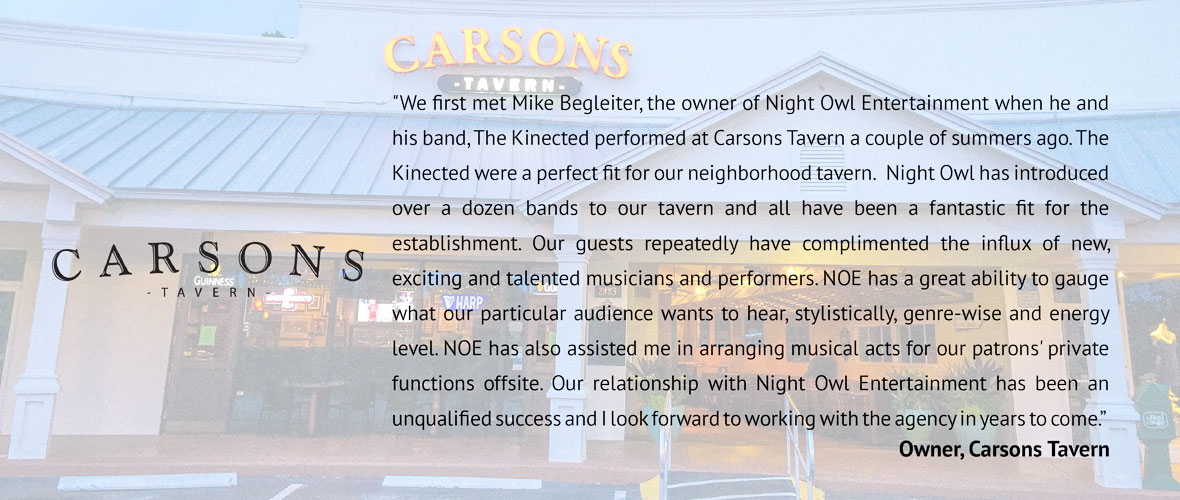 Carsons Tavern testimonial